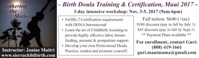 Birth Doula Workshop Maui