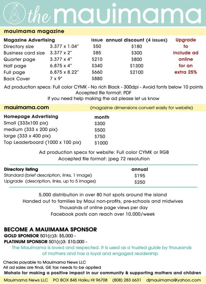 Mauimama ad rate form 2020
