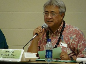 File Photo:  Budget Chair Joe Pontanilla speaks to the public at a hearing held at the Lahaina Civic Center earlier in the budget process calling for support in maintaining the county's share of the hotel room tax or TAT.  Photo by Wendy OSHER 2009.