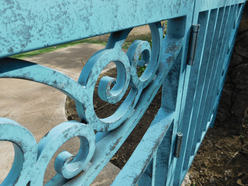 lightly distressed patina access gate upclose