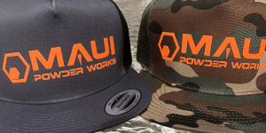 mens tee, team shirt, logo tee, logowear, maui powder works, merchandise, trucker hat, maui powder works work shirt