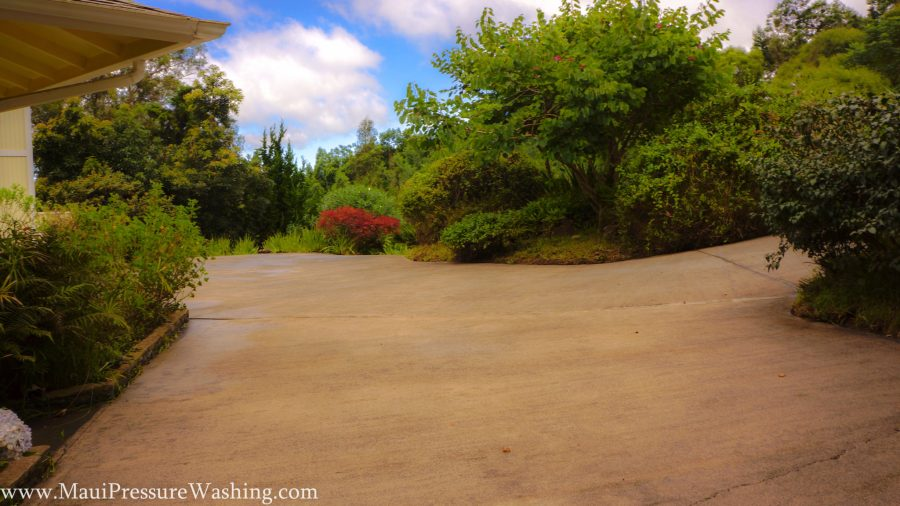 Cleaning up Oil on a Maui Driveway