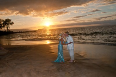 Maui beach wedding at sunset.