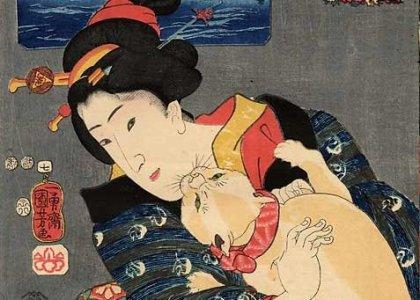 Utagawa Kuniyoshi - Gato mordiendo la barbilla
