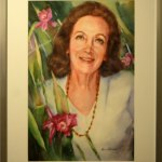 """Orquídeas y recuerdos, 2017, Marcela Acevedo, acuarela sobre lienzo, exposición """"Maestros y Alumnos 2018""""."""