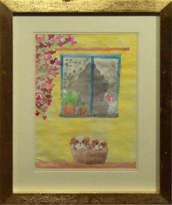 """Perritos en casa, 2017, Griselle Barrera, acuarela sobre lienzo, exposición """"Maestros y Alumnos 2018"""""""