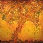 """El árbol de los libros, 2017, Javier Cruz, óleo sobre lino, exposición """"Árbol, rama y tiempo. Eterna naturaleza""""."""