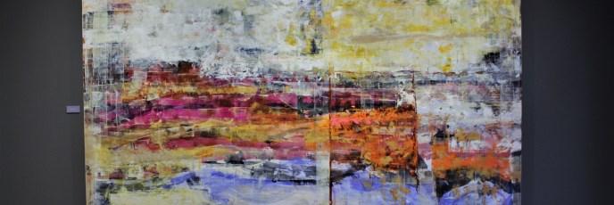 "Bugambilias al amanecer, 2017, Virginia Chévez, óleo sobre lino, exposición ""Pied à terre""."