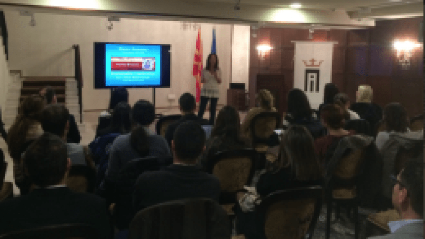Maura Sweeney speaks at Ivanov School of Leadership Alumni in Skopje, Macedonia