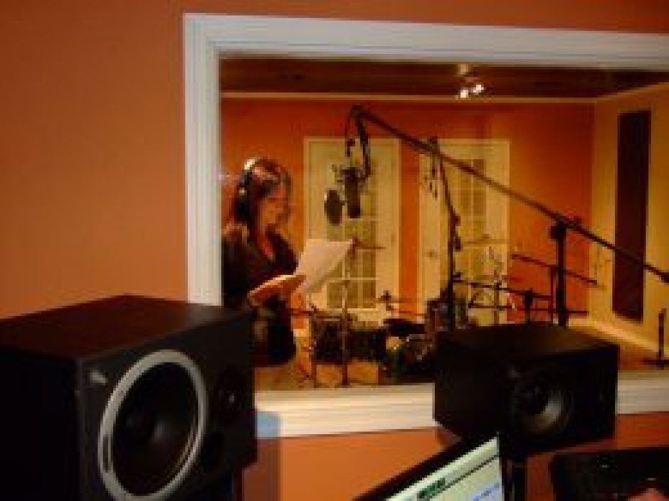 In studio as voice over for Mrs. Q, a character in our Inky Winky Spider audio books