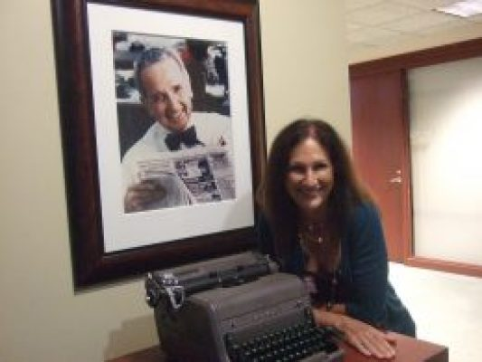 Posing with the iconic Royal Typewriter used by legendary Publisher Nelson Poynter at the Poynter Institute in St. Pete, FL.
