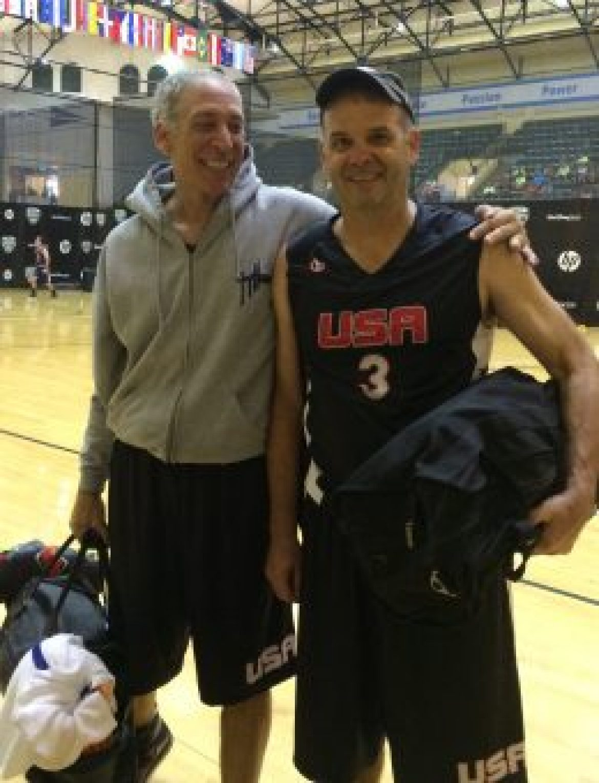 Jim Sweeney and Eric Fleat faced off as college players in the 1970s today are teammates on FIMBA's 2015 USA 55 team