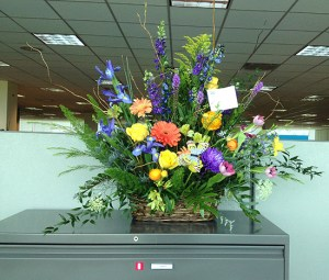 Flowers from my son for Mother's Day, atop a big file cabinet... huge!
