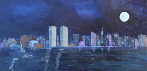 The New York I Recall painting by Maura Satchell, includes the Twin Towers of the World Trade Center and the Statue of Liberty.