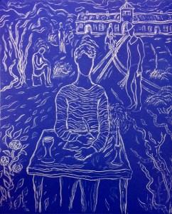 "Etching by artist/author David Sandum entitled ""Writing my Memoir"""