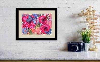Flowers and Butterflies original painting by Maura Satchell, artist