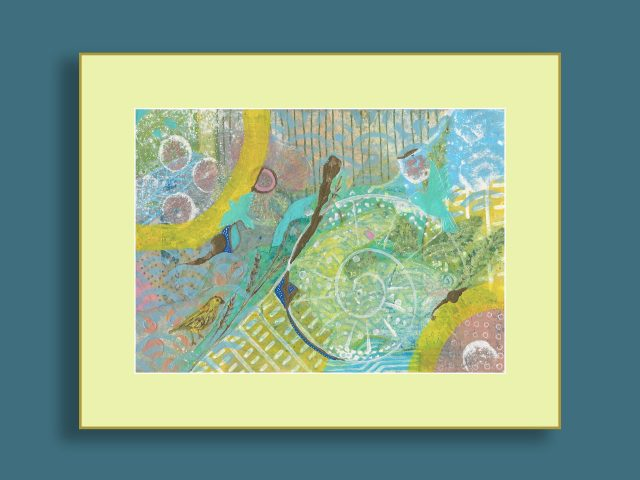 """Nature's Promise - mixed media abstract on paper - 8"""" x 5.75"""" - List: $145"""