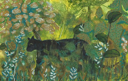 Black panther stalking its prey painting by Maura Satchell