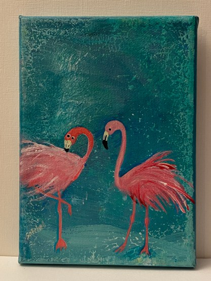 Preening Pair flaming painting by Maura Satchell