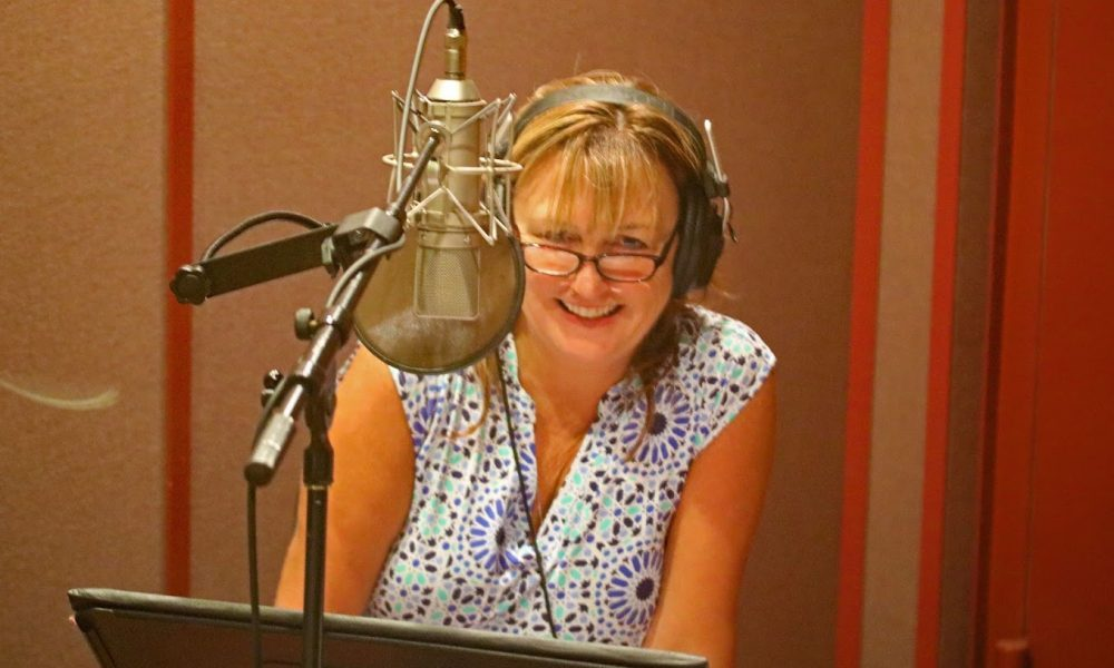 Maureen recording audio book