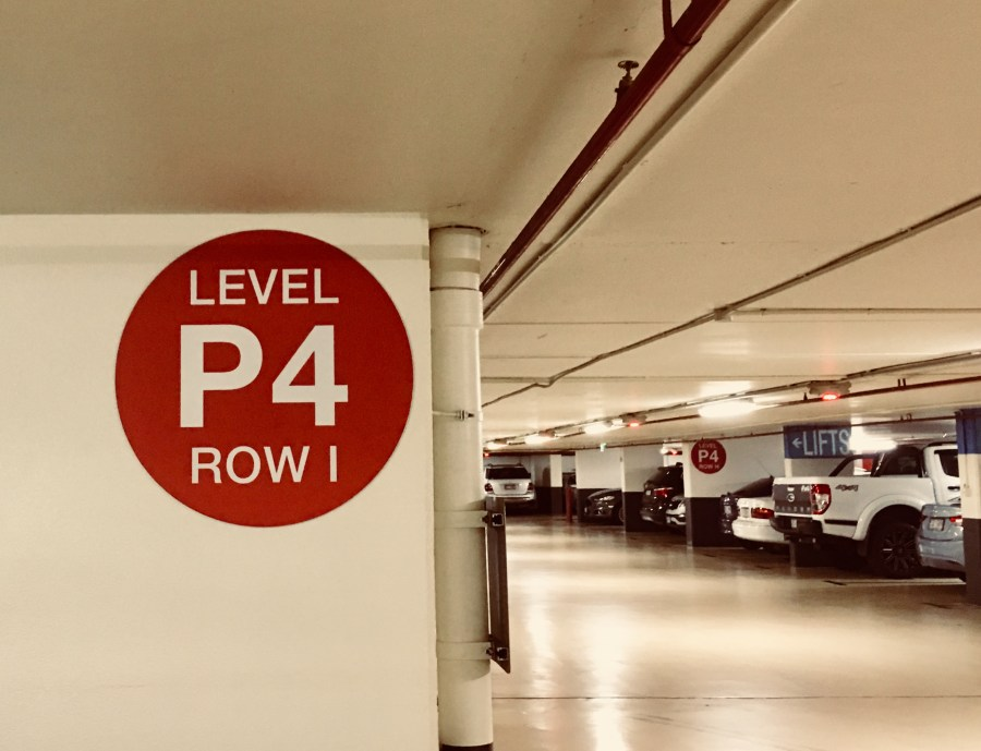 Photo of Level 4 Row 1 of the Myer Centre Carpark