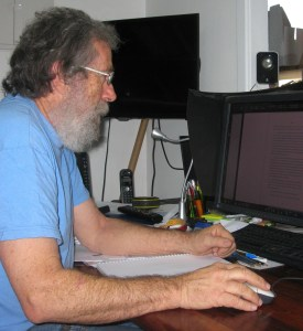 Peter Stone puts finishing touches to typesetting