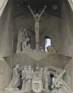 The Feast of Easter. A detail from the unfinished Church of the Holy Family Barcelona