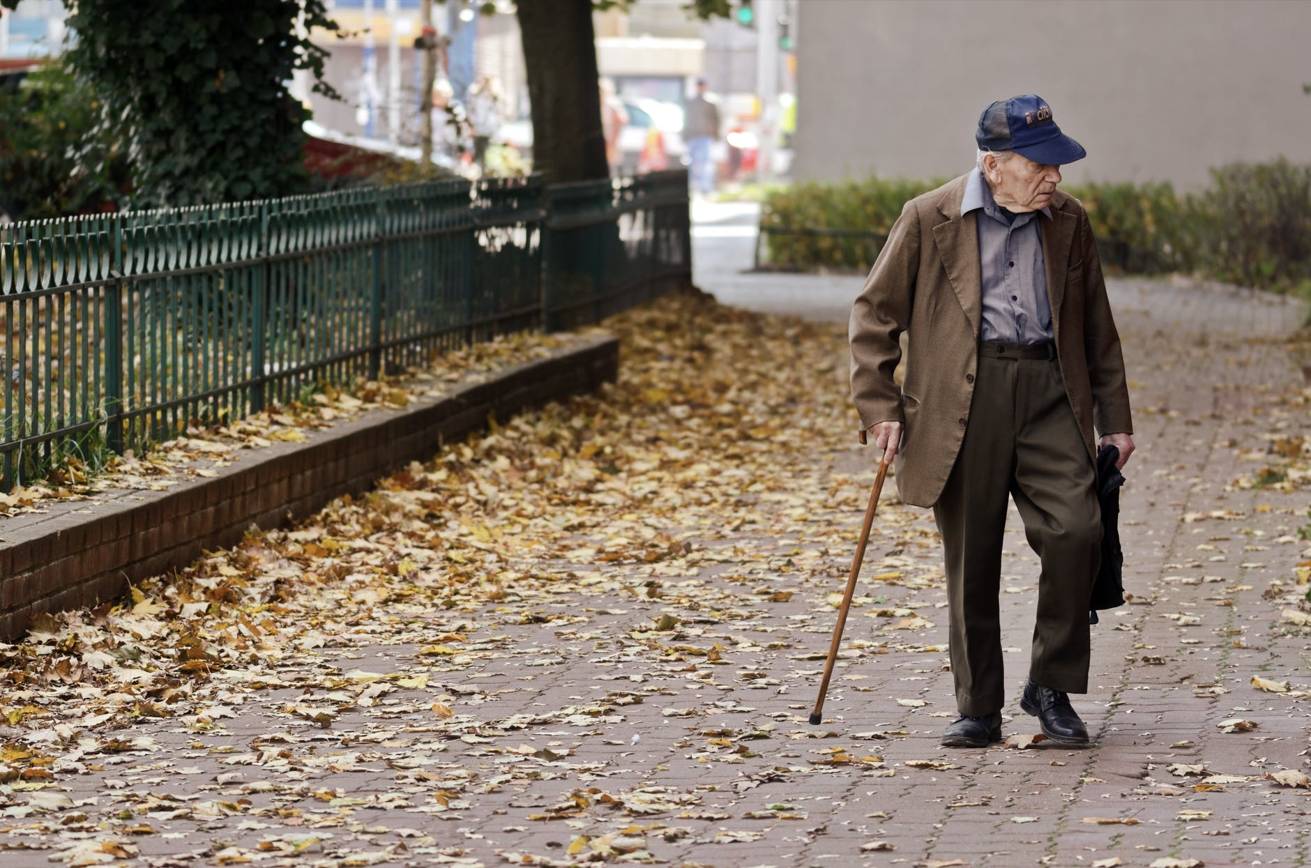 Elderly man making successful steps on his journey