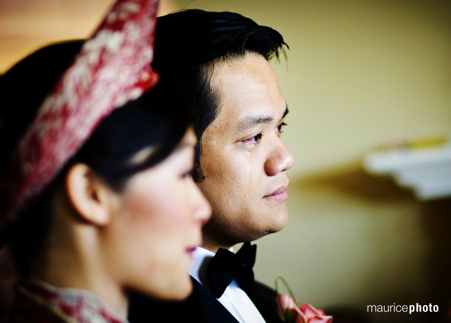 bride and groom during their tea ceremony