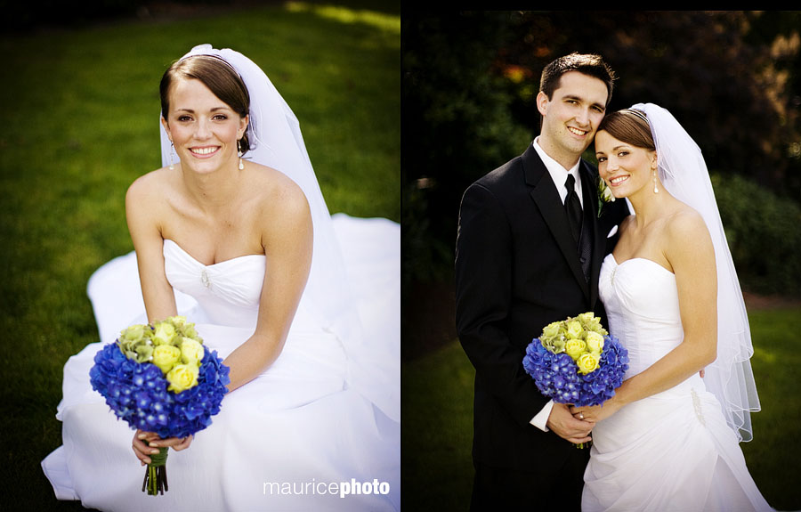 Traditional wedding portraits of a bride, and bride with groom