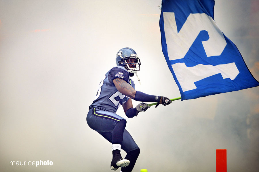 Marcus Trufant got to wave the 12th man flag during intros