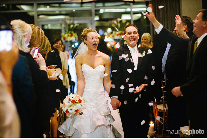 Flowers are thrown during a wedding ceremony