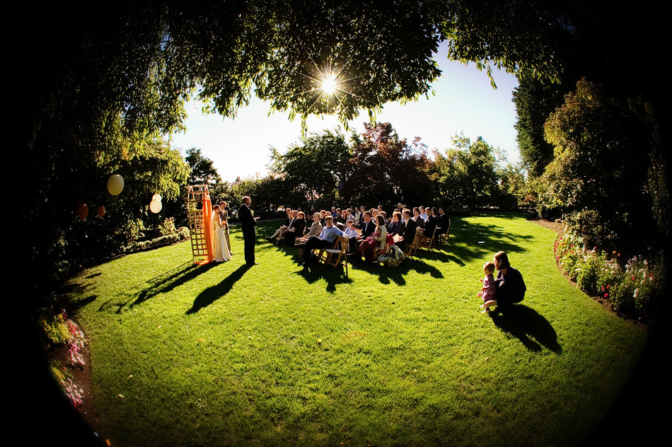 Photo of an outdoor wedding ceremony at Parsons Garden in Seattle
