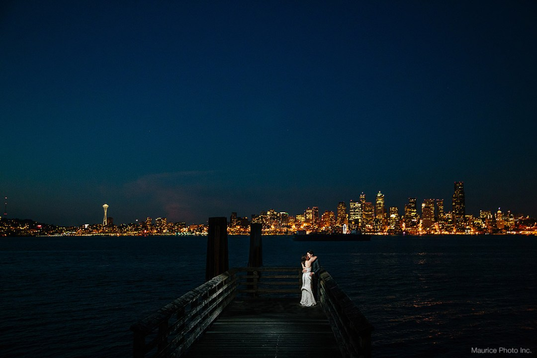 Seattle Waterfront view at night. Seattle Wedding Photographer Maurice Photo Inc.