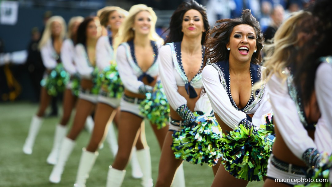 The Sea Gals cheer on the home team