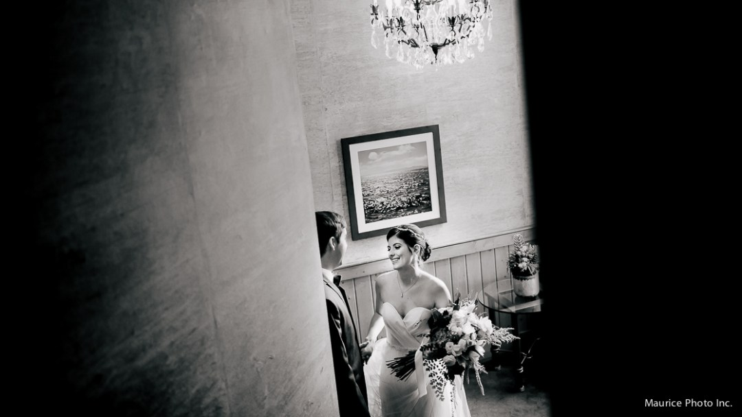 First Look photos at the Edgewater Hotel. Wedding Photography by Maurice Photo Inc.