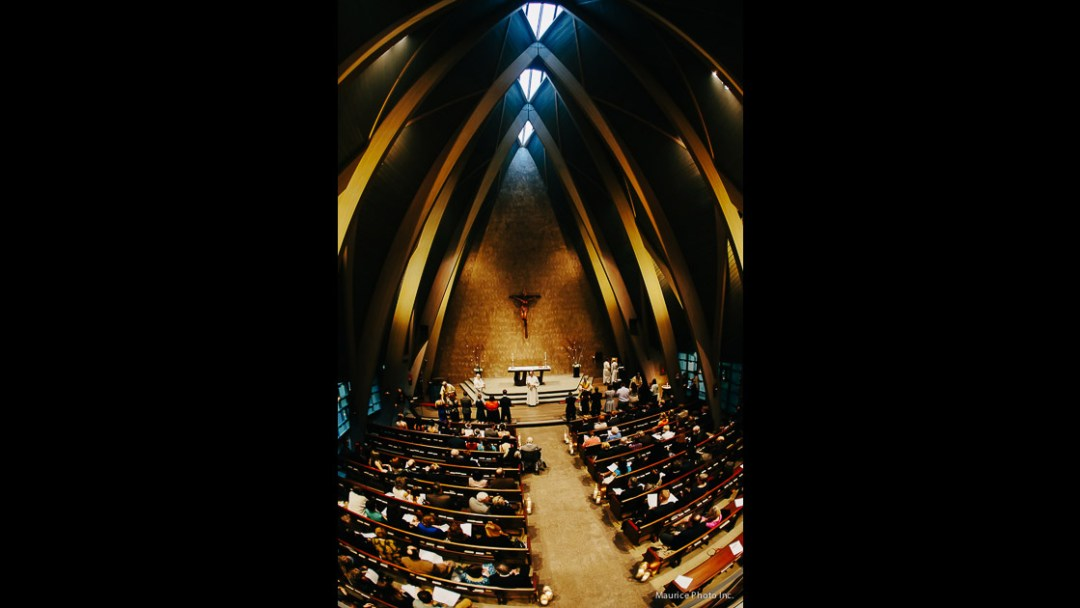Photo of a wedding ceremony at St. Pauls Episcopal Church. Fisheye lens