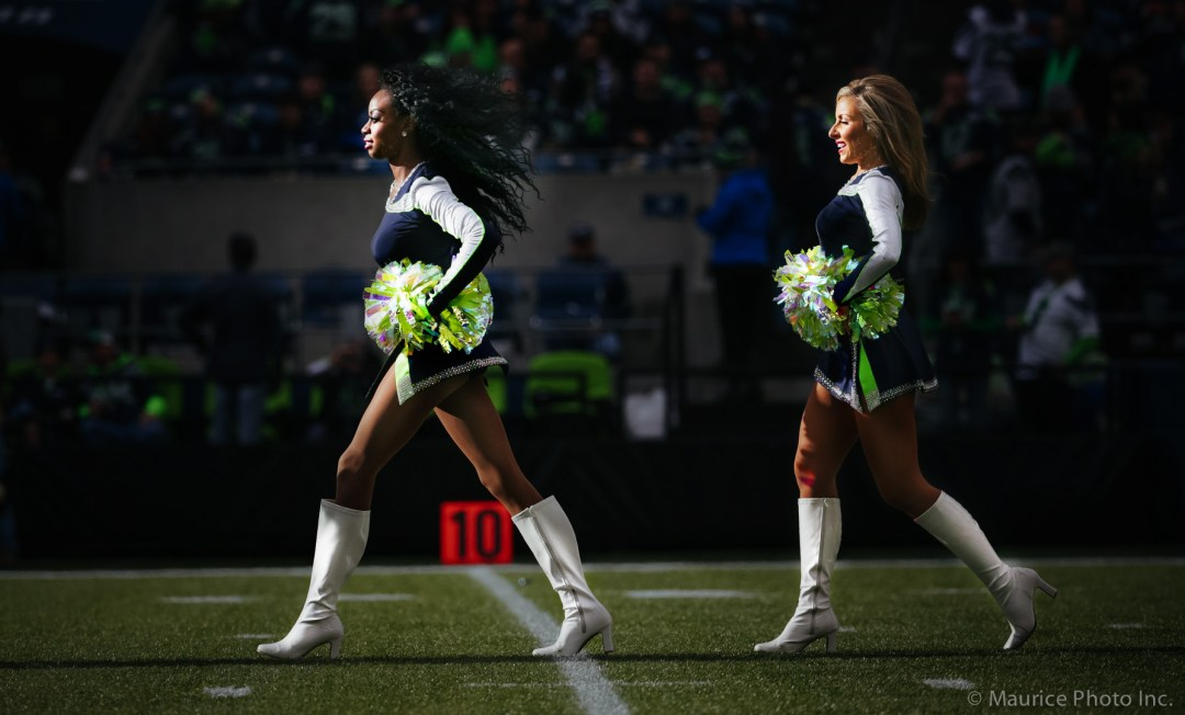 The Sea Gals perform at a Seahawks game