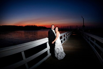 Bride and groom pose for photos in Pt. Townsend