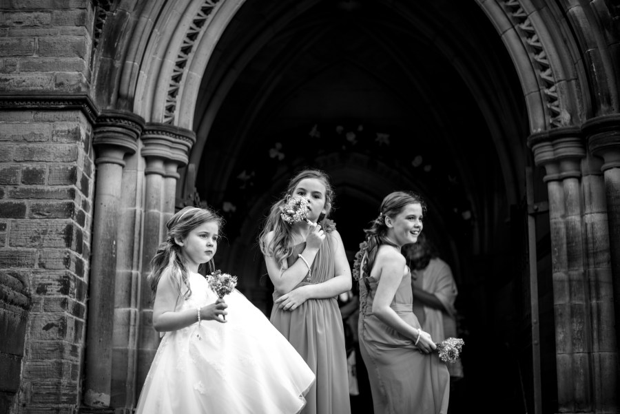 Bridemaids waiting for the bride to arrive in North Wales Chapel