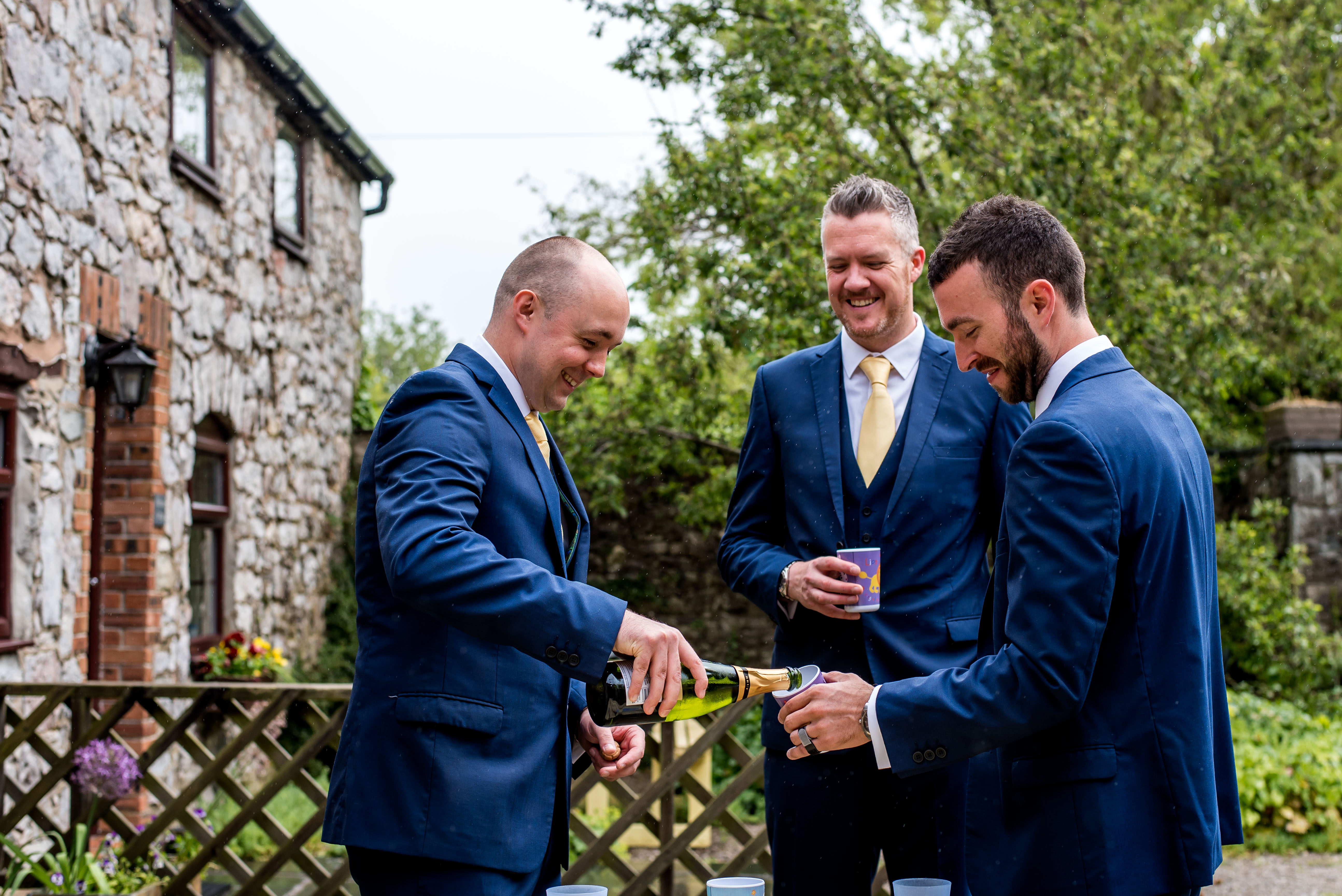Wedding Photographer in Denbighshire taking pictures of the grooms party