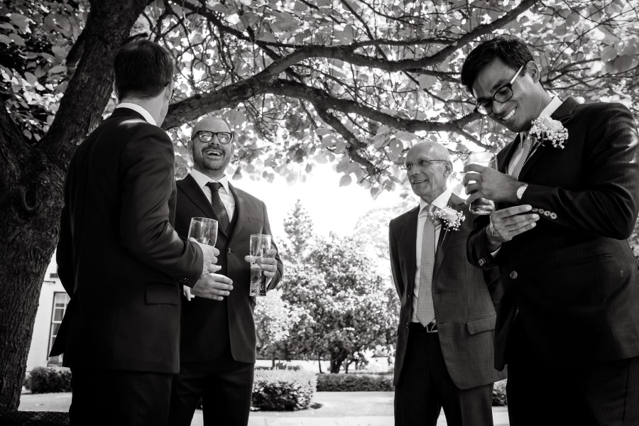 Statham Lodge Wedding - Groomsmen enjoying the sunshine
