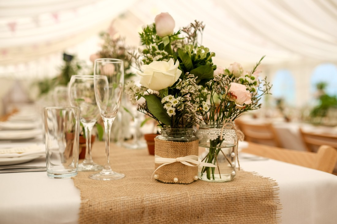 Hafod Farm Wedding - The table decorations.