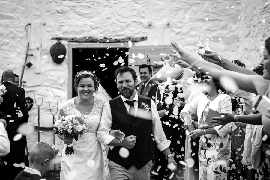 Hafod Farm Wedding - Bride and Groom confetti.