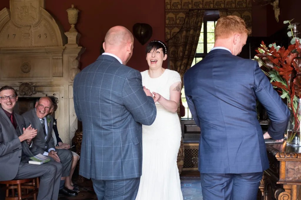 Happy wedding ceremony at Trevor Hall
