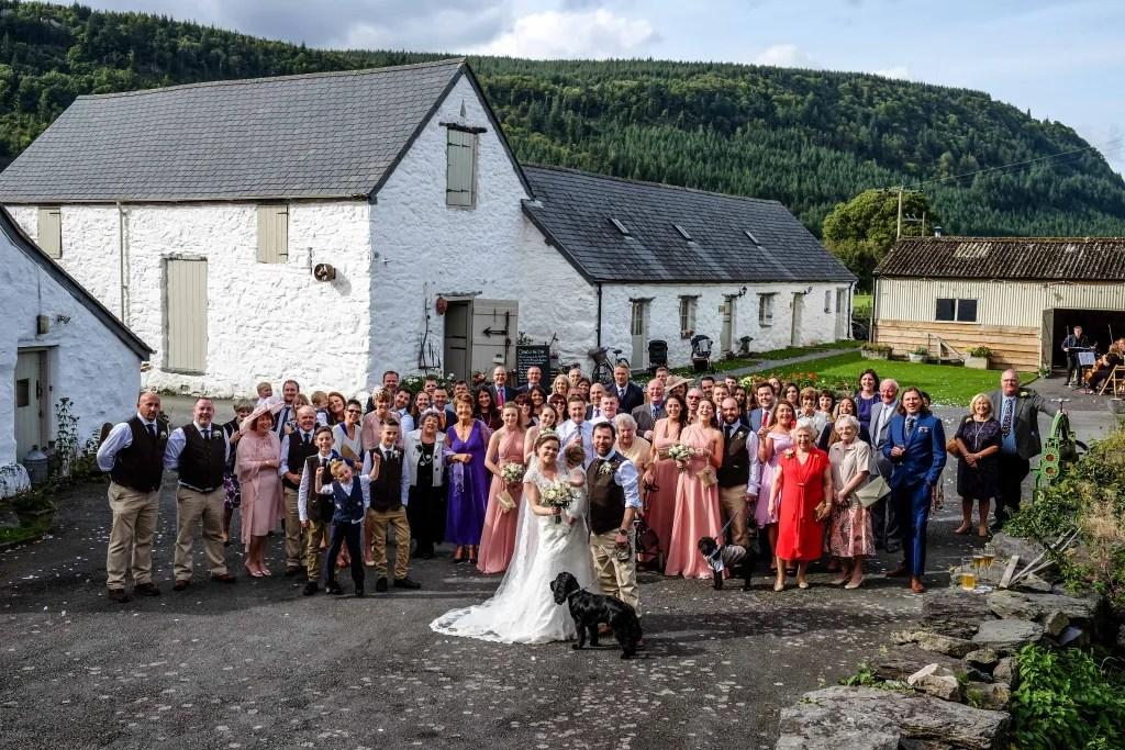 Stunning group photograph at a Hafod Farm wedding