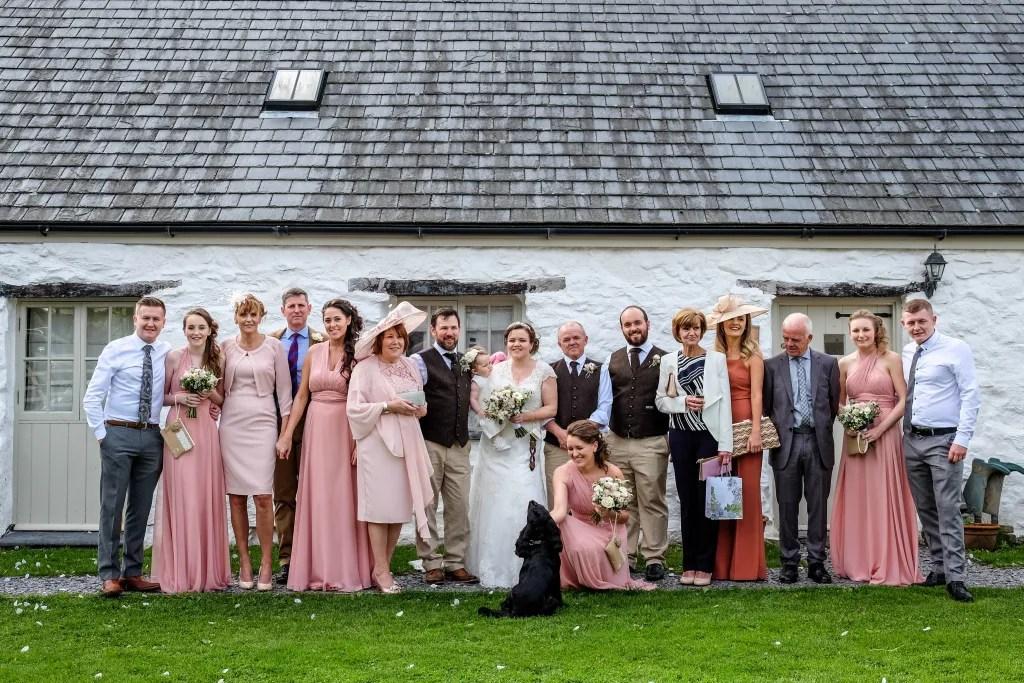 Wedding group photograph at Hafod Farm