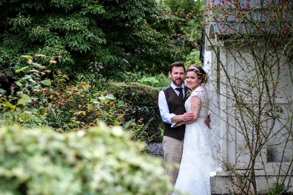 Beautiful portrait of Natalie and Vince at their Hafod Farm wedding