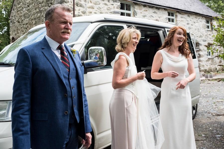 Bride at Penarth Fawr medieval hall wedding on the Llyn Peninsula.
