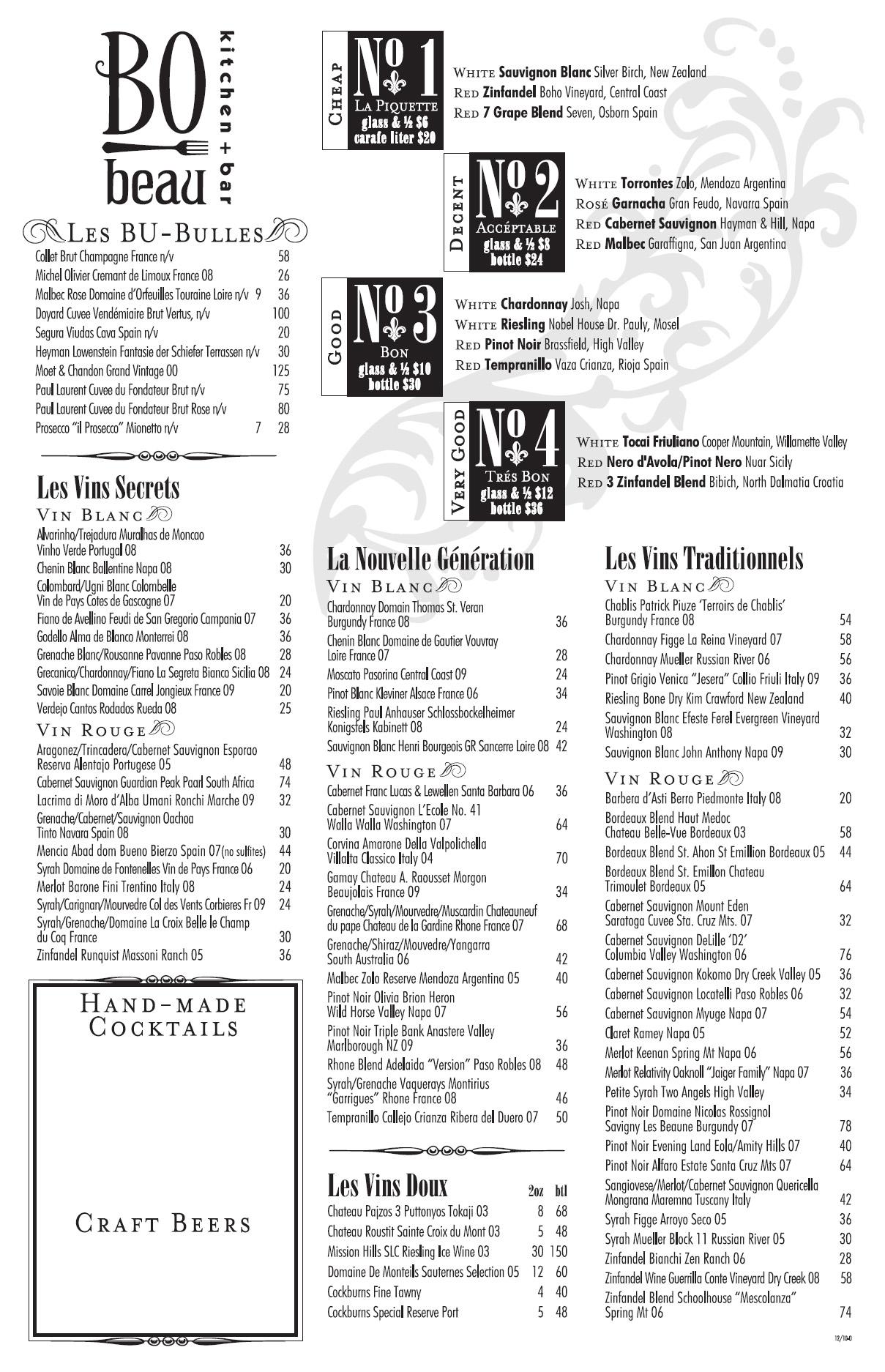 Bo Beau Opening Wine List